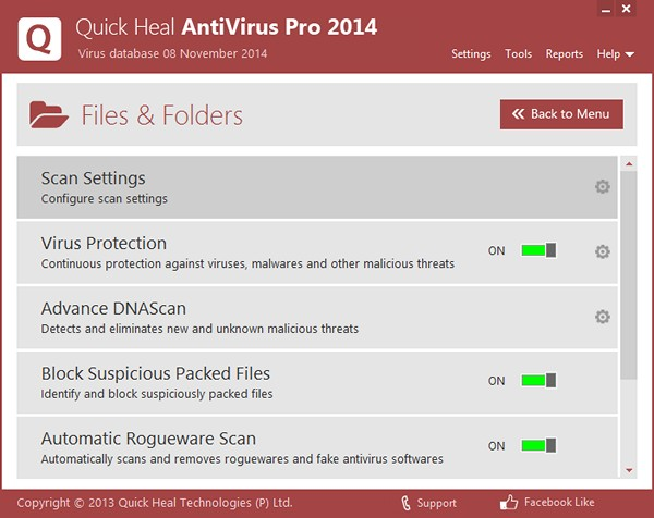 run quick heal antivirus pro